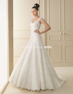 So Pretty! http://www.gopromdres.com/springfall-straps-aline-zipper-back-cap-sleeve-lace-wedding-dress-p-4776.html