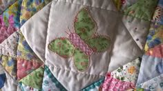 Patchwork copertina culla con farfalla - Patchwork baby quilt butterfly appliqué