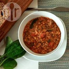 Spicy red lentil and spinach soup @ allrecipes.co.uk