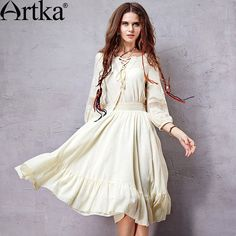 Artka Women's Exclusive Custom Bohemian Style Dress V-neck Lantern Sleeve Knee-length Perforated Wide Hem Dress LA10056C US $75.26 /piece To Buy Or See Another Product Click On This Link  http://goo.gl/IdJFhm