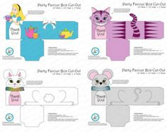 Alice in Wonderland Party Favour Box Digital Birthday Favor Party Alice Cheshire Cat Mad Hatter White Rabbit Dormouse Kids Party Favor Box