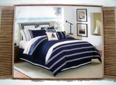 Coastal Life Nautical Stripe Bay Harbor Navy Cream Twin Duvet Cover 68x90 NIP