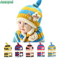 >> Click to Buy << CHAMSGEND drop shipping  Fashion snapback cap s  Cute Winter Baby Wool Hat Hooded Scarf Earflap Knit Cap Toddler Feb7 S45 #Affiliate