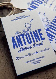 Faire-part Antoine avec l'enfant et la cigogne - modèle Cocorico Letterpress personnalisable / Customizable baby boy birth announcement card with stork