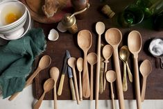 Sir Madam wooden spoons collection hand carved by a workshop in Karnataka India that funds a school for girls | Remodelista