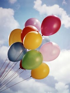 """""""Bunch Of Multicolored Balloons In Blue Sky With White Clouds""""=>"""