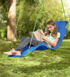 Cool outdoor swings for kids - Hanging Lounge Chair by Hearthsong | summer activities and boredom busters