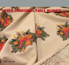 silver christmas table runner