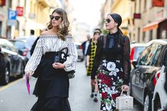 The number of trends these two are tackling can not be counted on one hand. #refinery29 http://www.refinery29.com/2015/09/94857/milan-fashion-week-spring-2016-street-style-pictures#slide-59