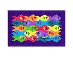 Mosaikartigen Fisch quilt Muster Paper von PieceByNumberQuilts