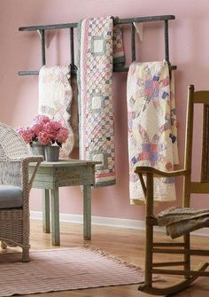 Patchwork quilts= this is an interesting quilt rack-an old ladder hung sideways. Decor, Furniture, Room, Interior, Country Decor, Ladder Decor, Home Decor, Sewing Room, Cottage Style Interiors