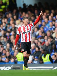 Connor Wickham of Sunderland celebrates scoring during the Barclays Premier League match between Chelsea and Sunderland at Stamford Bridge o...