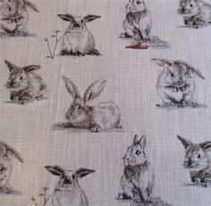 Clarke and Clarke Linen Blend Curtain Fabric Rabbits | Curtain Factory Outlet