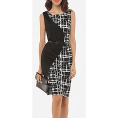 Patchwork Plaid Zips Elegant Round Neck Bodycon Dress (56 BAM) ❤ liked on Polyvore featuring dresses, tartan plaid dress, party dresses, tartan dress, zipper bodycon dress and zip dress