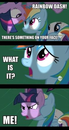 My Little Pony: Friendship is Magic Rainbow Has Twilight on her face
