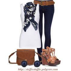 Navy & White Patterned Scarf, created by steffiestaffie on Polyvore