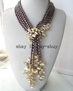 """3Strands Blue Purple Brown Pearl&Champagne Keshi Keishi Pearl Necklace 50"""""""
