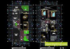 منازل منفصلة في خطط أوتوكاد 3 مستويات dwg