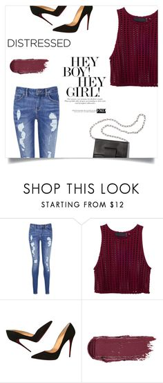 """""""'Distressed Denim'"""" by laras03 ❤ liked on Polyvore featuring Tommy Hilfiger, Christian Louboutin, MM6 Maison Margiela and distresseddenim"""