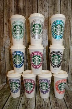 Bridesmaid Gift Idea... Personalized Starbucks Coffee Cup • Tea Cup, *Genuine Starbucks® Reusable Cup that I personalize with a name (and optional monogram) and then place each in a cello bag wrapped with a matching cord. My cups and their presentation offer a high quality gift for everyone in the entire wedding party. I have been crafting these perfect gifts for 2 years. This means that Im very experienced at producing this kind of work and offering the customer service that a Bride…