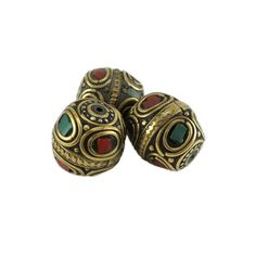 Tibetan Nepal Beads Turquoise Color Stone and Red Coral Stones 20mm x 19mm Two Pieces per Package