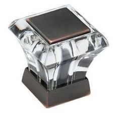 Acrylic/Oil Rubbed Bronze Abernathy 1-1/16 Inch Long Square Cabinet Knob