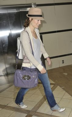 Nice although I dislike the bag. Too cheap for her casual but chic airport style.