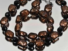 Chunkly Glass Metallic Bronze Necklace Earring and Bracelet Set New Czech Glass | eBay