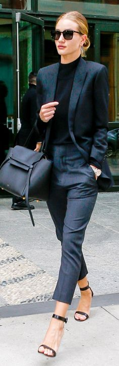 Rosie Huntington-whiteley wearing Saint Laurent, Gianvito Rossi, Celine and Jennifer Fisher Rosie Huntington Whiteley, Fashion Mode, Office Fashion, Sienna Miller, Business Outfits, Business Chic, Business Wear, Tailored Suits, Black Sunglasses