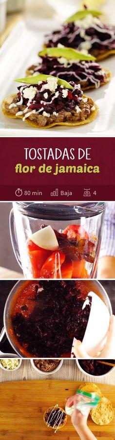 No tires la flor de jamaica que utilizaste para hacer agua de jamaica; utilízala para preparar estas tostadas de flor de jamaica. Una receta vegetariana y sin carne que combina lo mejor de la cocina mexicana casera.