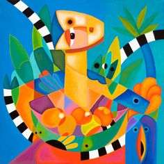 Vibrant Figure with Abstract Fruit Bowl Cubist Surreal Elements Modern Caribbean Colors Tropical Abstract Palms by SierraFineArt on Etsy Art Paintings For Sale, Colorful Paintings, Art For Sale, Original Paintings, Watercolor Paintings, Cubism Art, Art Prints Online, Tropical Art, Figure Painting