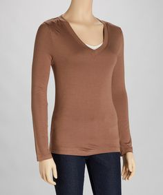 This Mocha V-Neck Tee is perfect! #zulilyfinds  This would be cute in all sorts of colors!