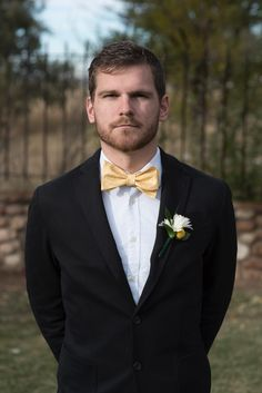 Groom Fashion Yellow Bow Tie Wedding Spring Daisy Fun.   Yellow Wedding Daisies Bride and Grown Wedding Photography Photo by: Modified PhotoGraphics PRESENTED BY WHITE DAISY EVENTS