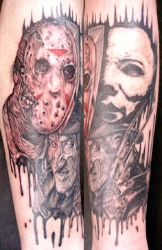 Grey Ink Jason Mask And Halloween Tattoos On Both Sleeves