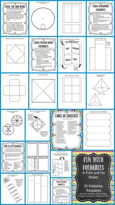 Foldables Fun!  A huge packet of foldable templates, directions for use, examples.  42 page packet includes 20 different foldable templates, including: Windowed Wheel, Triorama, Flower Foldables, Shutters, Flap Foldables, Layered Booklet, Accordions, Mini Books Envelope, and More!  There are hundreds of ways to use foldables in the classroom. These interactive graphic organizers are perfect for note-taking, book reports, fact study, vocabulary, sequencing, project display, etc. Love this!