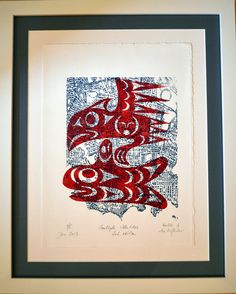 A collaboration print Coast Salish artist LesLIE and German-Canadian artist Ira Hoffecker