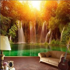 Waterfall Forest Wall Mural...this would be great in my laundry room ;)