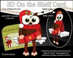 3D On The Shelf Card Kit - Christmas Little Hoot Owl Has A Christmas Cracker