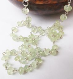 Lime green prehnite necklace, green beaded necklace, sterling silver, green prehnite, natural prehnite, something special, wear everyday by graciedot on Etsy
