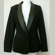 Tuxedo Blazer Tuxedo Style Leather-Lapel Blazer   Color: Black Fully Lined Faux Leather Lapel Brand: Black Label Size: XS  Front button closure 6 inch back slit Shoulder padding  Measurements Shoulder to shoulder: 16 inches Length: 25.5 inches Sleeve length: 24 inches  BRAND NEW Retail $115 Jackets & Coats Blazers