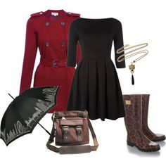 Rainy day fashion. Need love that dress and trench.