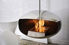 De Cocoon Aeris stainless steel is een retro vormgegeven Bio-ethanol haard. Suspended Fireplace, Hanging Fireplace, Wall Mount Electric Fireplace, Old Fireplace, Modern Fireplace, Fireplace Design, Basement Fireplace, Decorative Fireplace, Outdoor Fireplaces