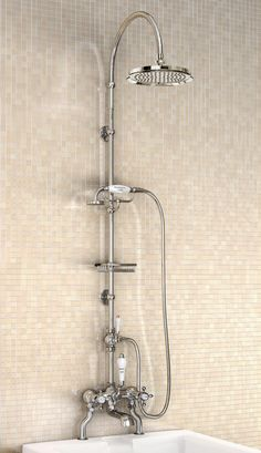 Burlington Bath Shower Mixer With Rigid Riser-Curved Arm And 9 Inch Rose Image