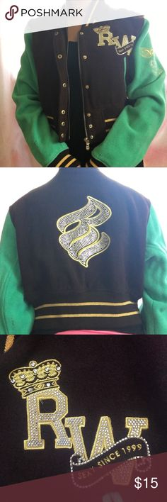 "Rocawear varsity jacket brown and green wool varsity jacket by rocawear with bedazzled lettering ""sexy since 1999"". slightly worn on the sleeve. Its an extra large but im more of a small/medium for reference. Rocawear Jackets & Coats"