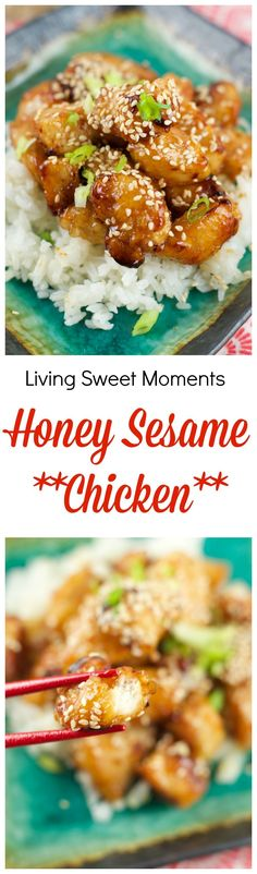 Baked Honey Sesame Chicken - Skip the Chinese take-out and try this easy homemade version instead. It tastes even better than your favorite restaurant dish #chinesefoodrecipes