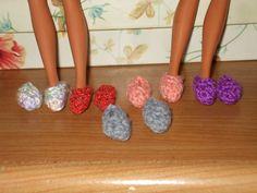 5 pairs of crocheted barbie - strawberry shortcake - Blythe - lollipop girls slippers. $2.00, via Etsy.