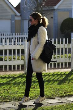 Fuzzy coat (by Christine R.) #Asos Leather backpack, #Converse Sneakers, #Ray-Ban Aviators.