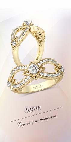 Jeulia Yellow Gold Milgrain Round Cut Created White Sapphire Women's Wedding Band #Jeulia