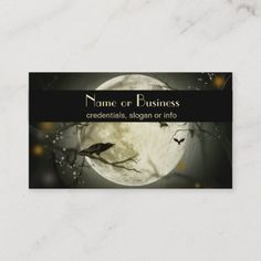 Halloween and gothic themed image. A big full moon at night with bats flying around and a raven sitting on the branch of a craggy tree. Size: x Color: Signature UV Matte. Premium Business Cards, Salon Business Cards, Artist Business Cards, Unique Business Cards, Professional Business Cards, Business Card Design, Bat Flying, Trick Or Treat Bags, Full Moon