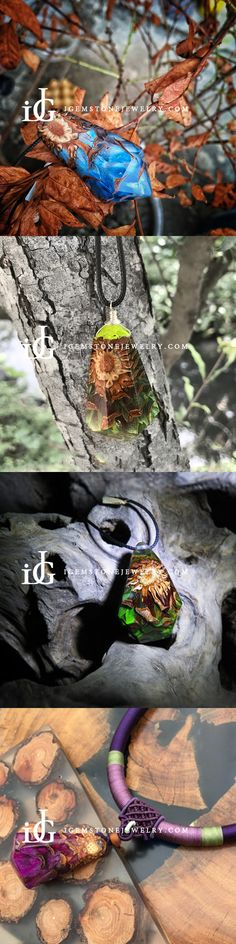 Pinecone and Resin Pendant Necklace Handmade Unique Jewelry For Women Men